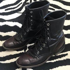 Vintage Laredo Two Toned Burgundy & Black Lace Up Kiltie Western Cowboy Boots 9M